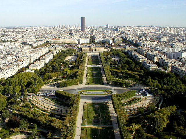 View along the Champs de Mars from the Eiffel Tower, Paris, France. Photo by Loire Valley Time Travel.