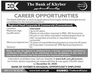 BOK Jobs 2020 Islamabad, The Bank of Khyber Advertisement