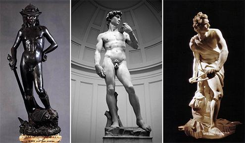 Comparativa de las tres más famosas esculturas de El David, Donatello, Miguel Ángel y Bernini, respectivamente