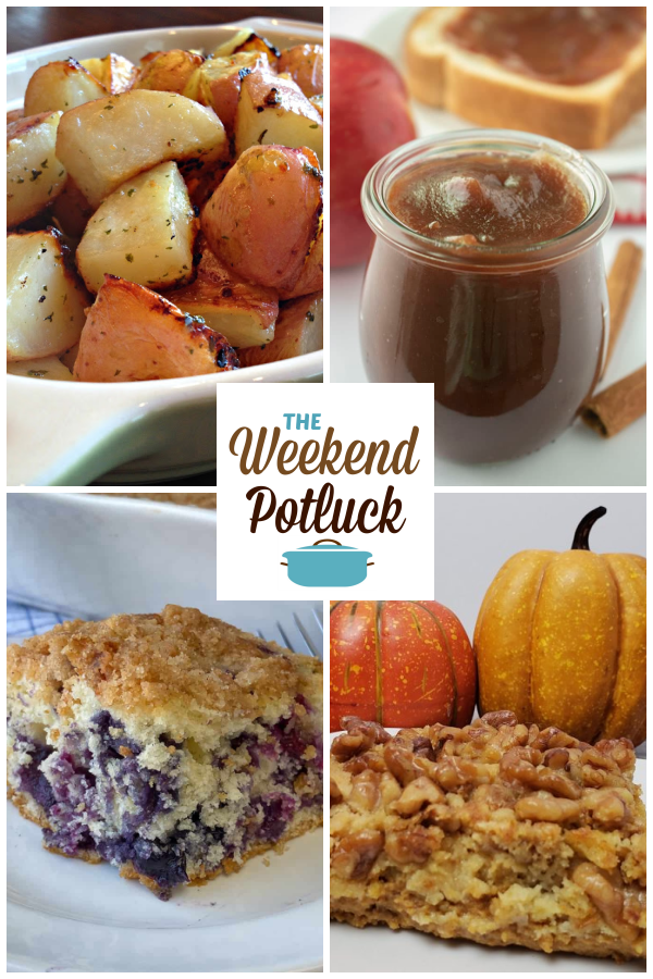 A virtual recipe swap with Perfect Garlic Roasted Potatoes, Slow Cooker Apple Butter, Farmhouse Blueberry Coffee Cake, Easy Pumpkin Dessert and more!