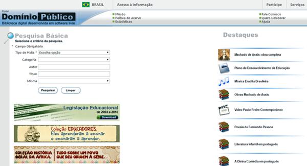 O site Domínio Público, desenvolvido pelo Ministério da Educação, conta com uma grande quantidade de livros em PDF, todos em domínio público