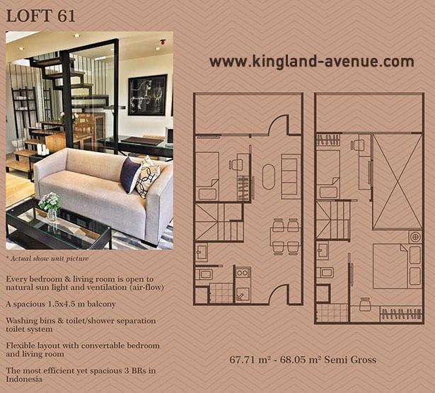 Kingland Avenue Serpong Dijual Tipe Loft 61