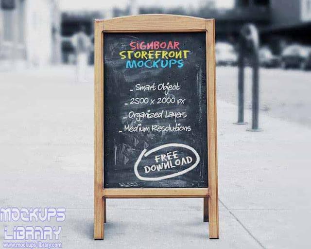 signboard chalkboard mockup 1