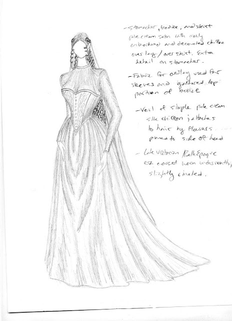 A sketch of a Belle Epoque era wedding gown and veil made of soft, flowing, pale fabric, with a full draped skirt with beaded lace overlay, a beaded and embroidered corset, and a high-necked long sleeved semi-sheer bodice.