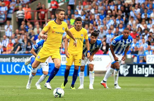 Chelsea midfielder Jorginho in flight has he scores penalty against Huddersfield in the Premier League 2018/19
