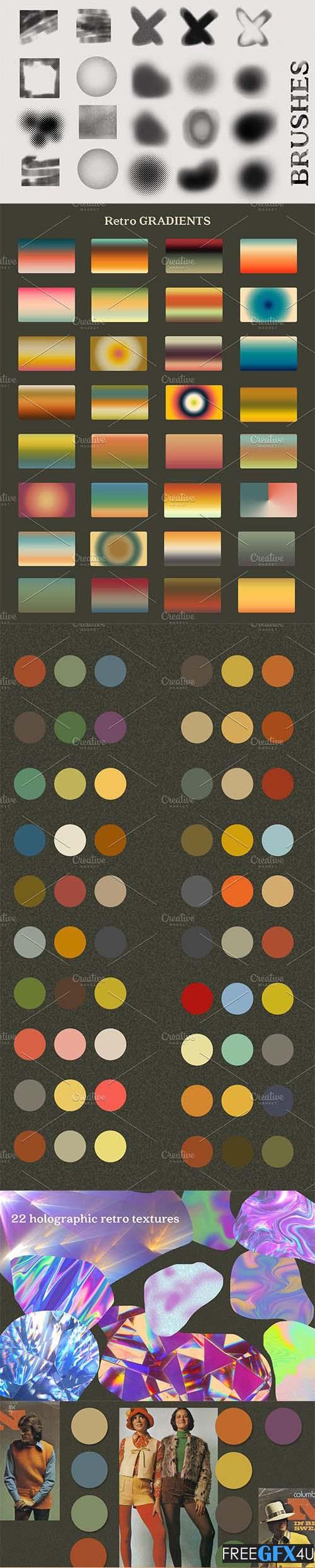 Retro Gradient Colors PS +Free Brush