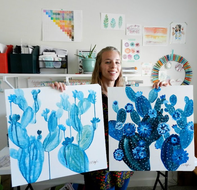 Blue Cactus Paintings- Two different Styles by Elise Engh