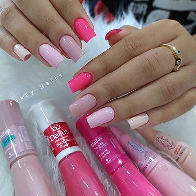 unhas decoradas com esmalte rosa 5
