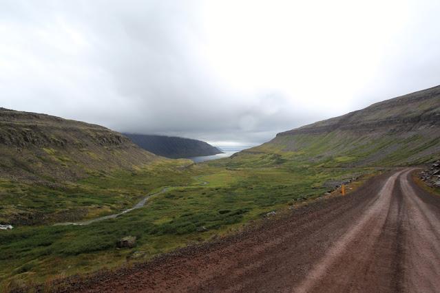 Strada nei fiordi occidentali d'Islanda