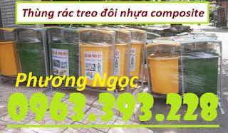 Thùng rác treo đôi 80 Lít, thùng rác 2 ngăn có mái che, thùng rác treo đôi nhựa composite
