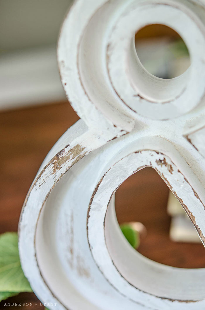 An MDF ampersand is given a farmhouse chic makeover with a little paint and distressing.  |  www.andersonandgrant.com
