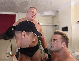 WWF Insurrexion 2002 - Paul Heyman and Brock Lesnar confront Shawn Stasiak