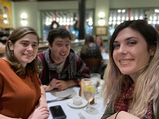 Michelle Ferreira, Greig Roselli, and Lauren Yandow enjoy dinner at the Palace Café on Canal Street in New Orleans