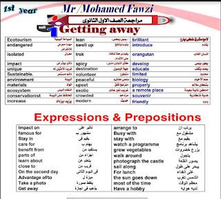 مراجعة اللغة الانجليزية للصف الأول الثانوى ترم أول 2020