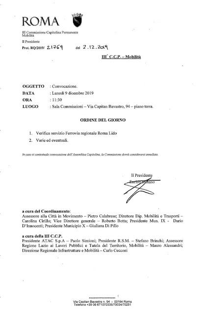 Commissione Mobilità sulla Roma-Lido