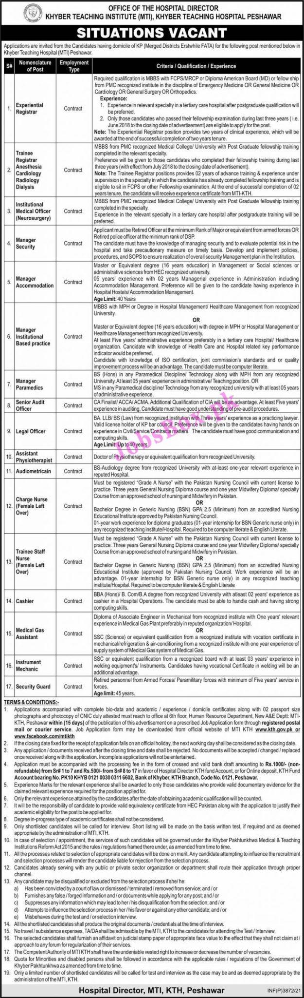 Khyber Teaching Hospital Peshawar Jobs 2021 – MTI-KTH Jobs