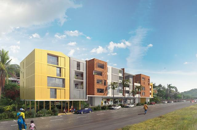 Perspective 3D d'intégration de logements collectifs