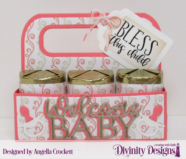 Divinity Designs LLC Sweet Baby, Candy Carrier Dies, Baby Blessings Dies, Baby Girl Paper Pad, Project Designed by Angie Crockett