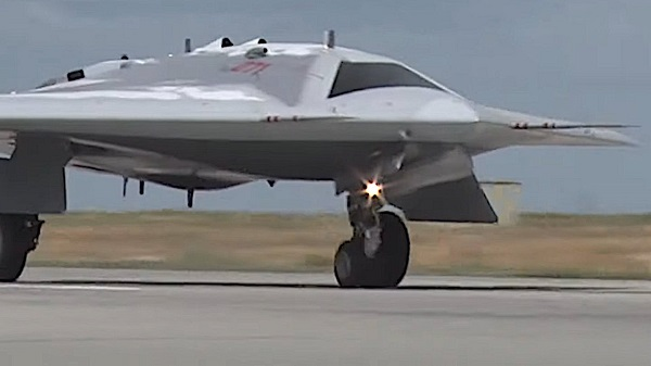 Russia has released footage of its new 'Hunter' stealth attack drone