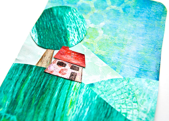Close up of Gelli Prints Project #1 a little house on a hill with a tree, a video by Kim Dellow