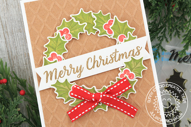 Sunny Studio Stamps: Christmas Trimmings Dapper Diamonds Embossing Folder Layered Wreath Christmas Card with Juliana Michaels
