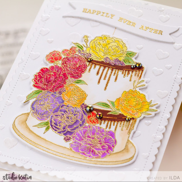 FLORAL CAKE,Happily Ever After, Fall Wedding, Cake Card,Studio Katia,Card Making, Stamping, Die Cutting, handmade card, ilovedoingallthingscrafty, Stamps, how to,Copic Markers,
