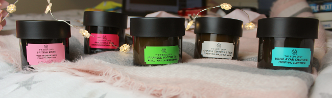 Five body shop face masks in a row