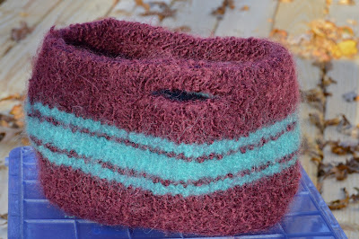 hand knit and felted bag or purse; Lopi, Lamb's Pride yarn