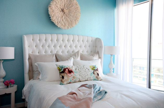 From The Turquoise On Walls To White Furniture Bedding Curtains Even Hot Pink Pop Of Color Night Stand