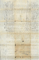 Broadside verso with four different family member letters and an address (the broadside must have been folded up and sealed as an envelope).