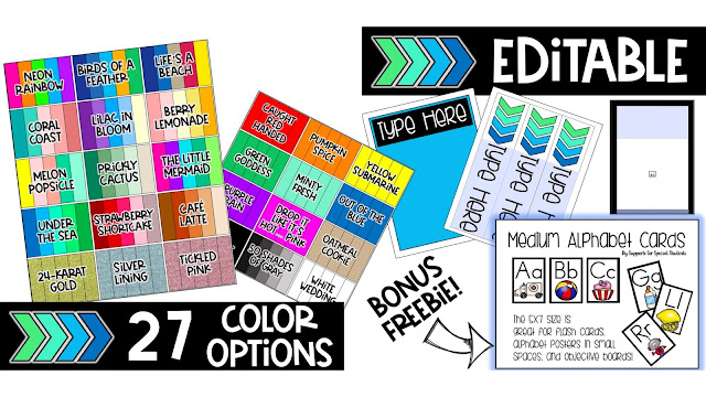 a collage of 27 color pallets, three types of editable pages, and an alphabet card bonus freebie