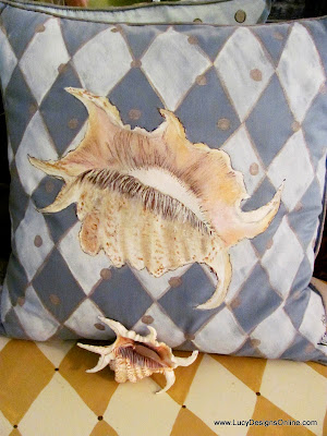 painted shell pillow