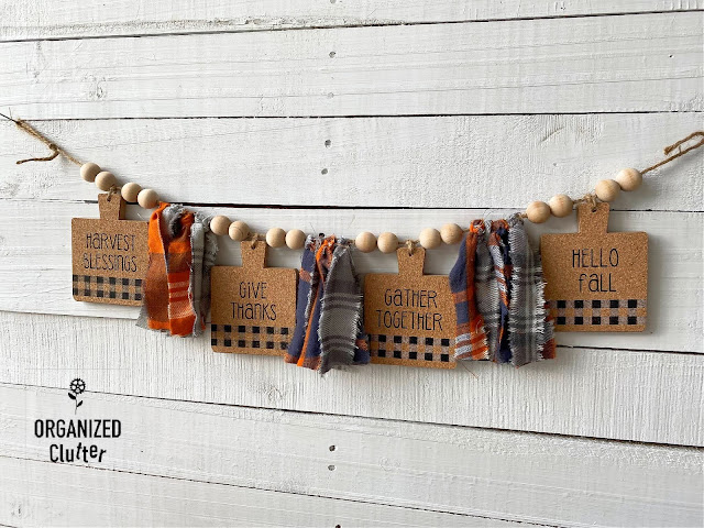 Photo of fall banner with jute, coasters, and plaid flannel.