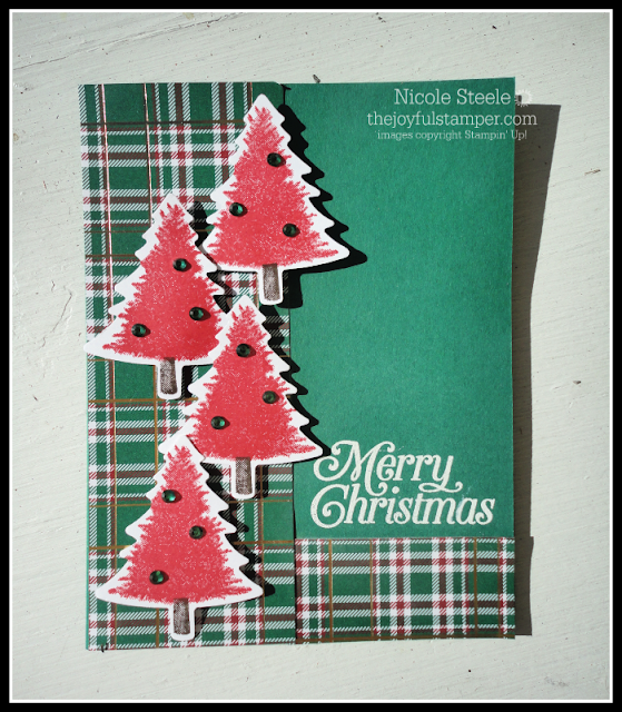 Alternate color scheme Perfectly Plaid Christmas card using Pine Tree punch, Wrapped in Plaid DSP, and Holiday Rhinestones Basics Jewels by Nicole Steele The Joyful Stamper