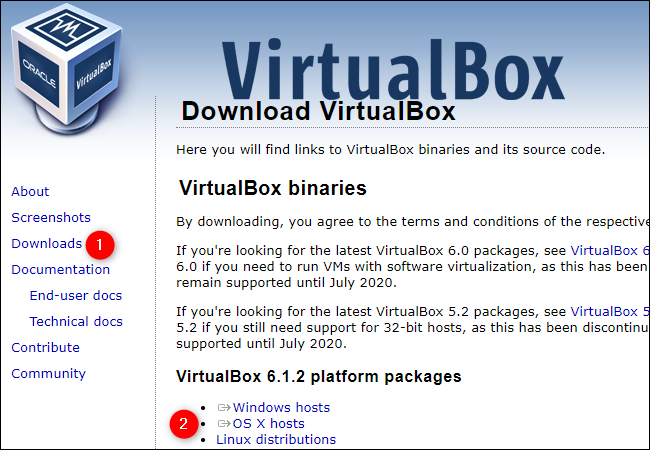 """انقر فوق """"التنزيلات"""" و """"OS X Hosts"""" على موقع VirtualBox."""