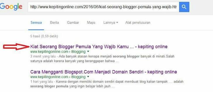 Tutorial Cara Agar Artikel Cepat di Kenali atau Terindeks Google