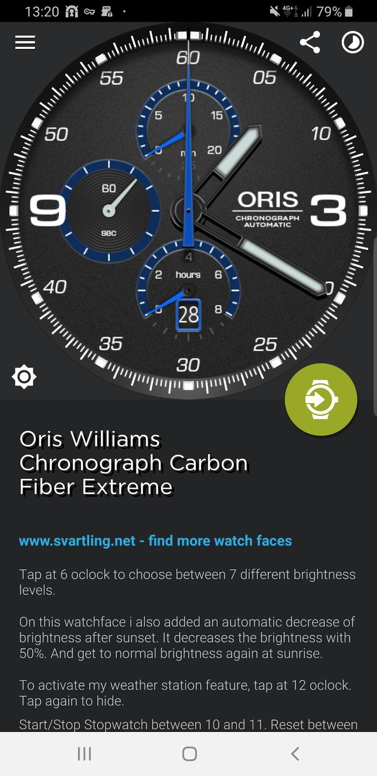 My Oris Williams Chronograph Carbon Fibre Extreme Watch Face
