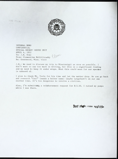 fake internal memo from clementine to J B Simo about keeping the sasquatch discovery under wraps and asked to be reimbursed for her ruined pumps