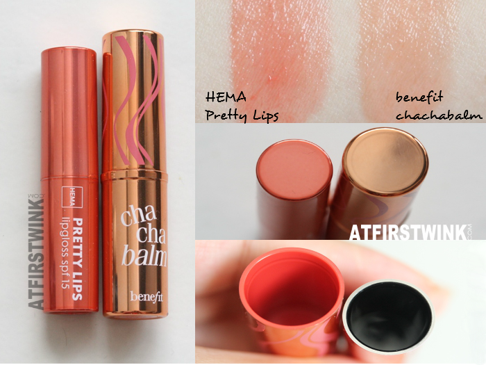 Benefit chachabalm vs. HEMA Pretty Lips comparison