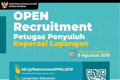 Lowongan Petugas Penyuluh Koperasi Lapangan (PPKL) Kemenkop dan UKM 2019
