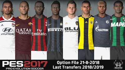 PES 2017 Next Season Patch 2019 Option File 21/08/2018 Season 2018/2019