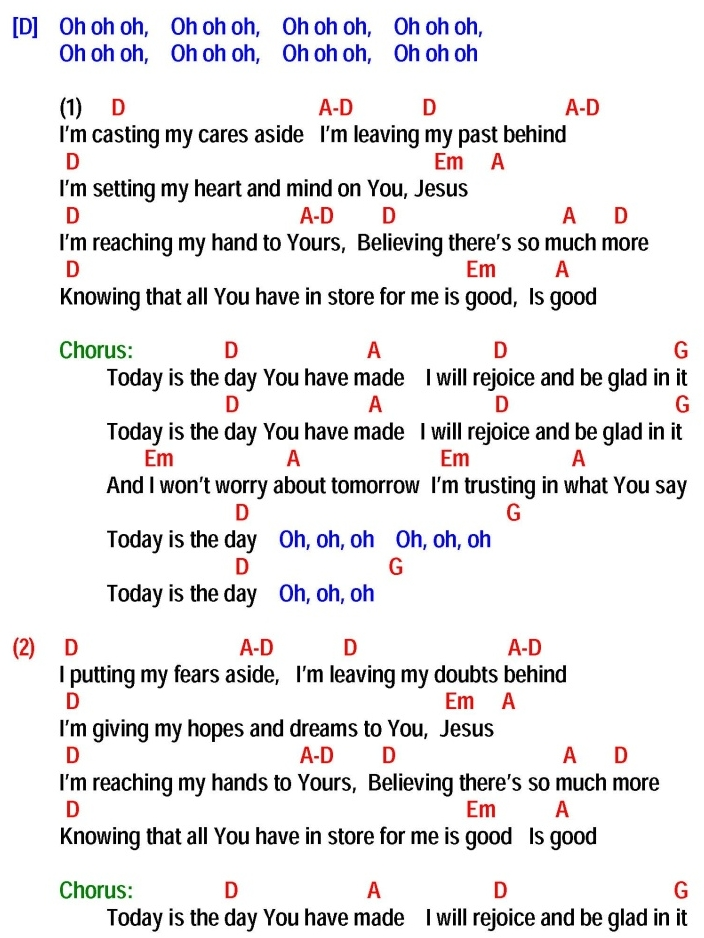 Lyric glad i got jesus down in my heart lyrics : TODAY IS THE DAY (Lincoln Brewster) - lyrics and chords ~ Sing and ...