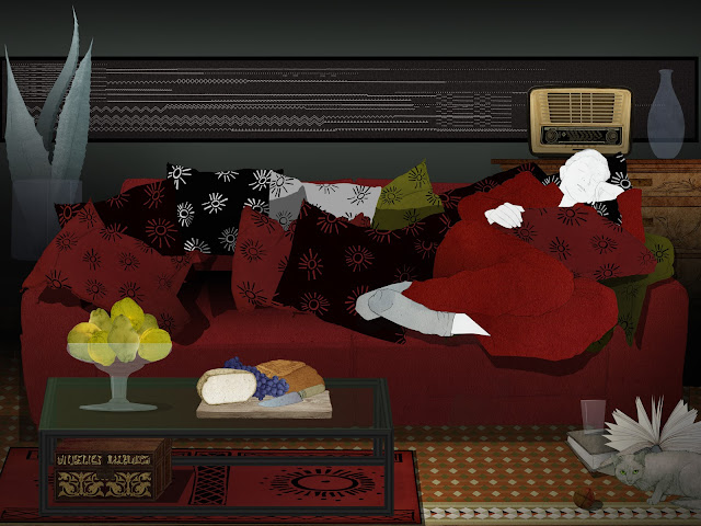 mujer, haciendo , la siesta