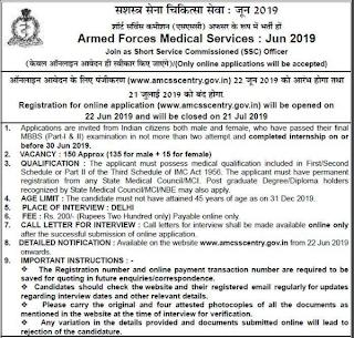 Indian Army AFMS SSC Medical Officer Recruitment 2019 150 Govt jobs Online Form