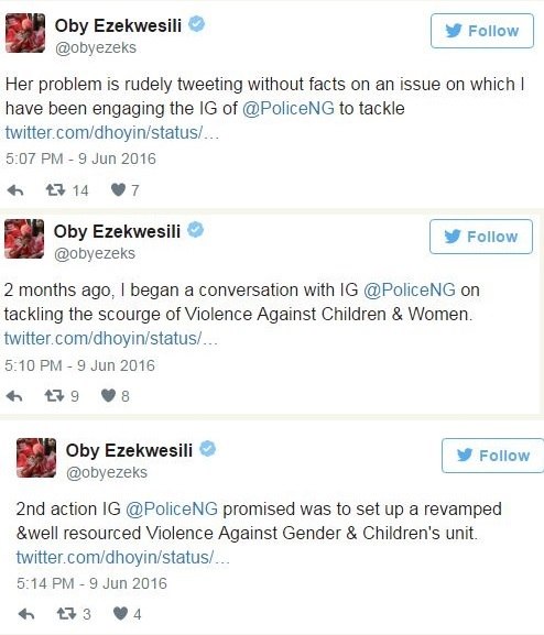 Oby Ezekwesili and 9ice's Ex-wife, Toni Payne in Bitter War of Words on Twitter