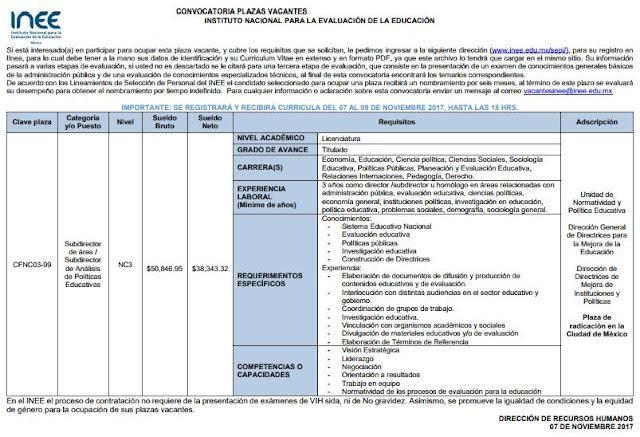 Convocatoria 98 2017 para plaza vacante del inee for Convocatoria de plazas docentes 2017