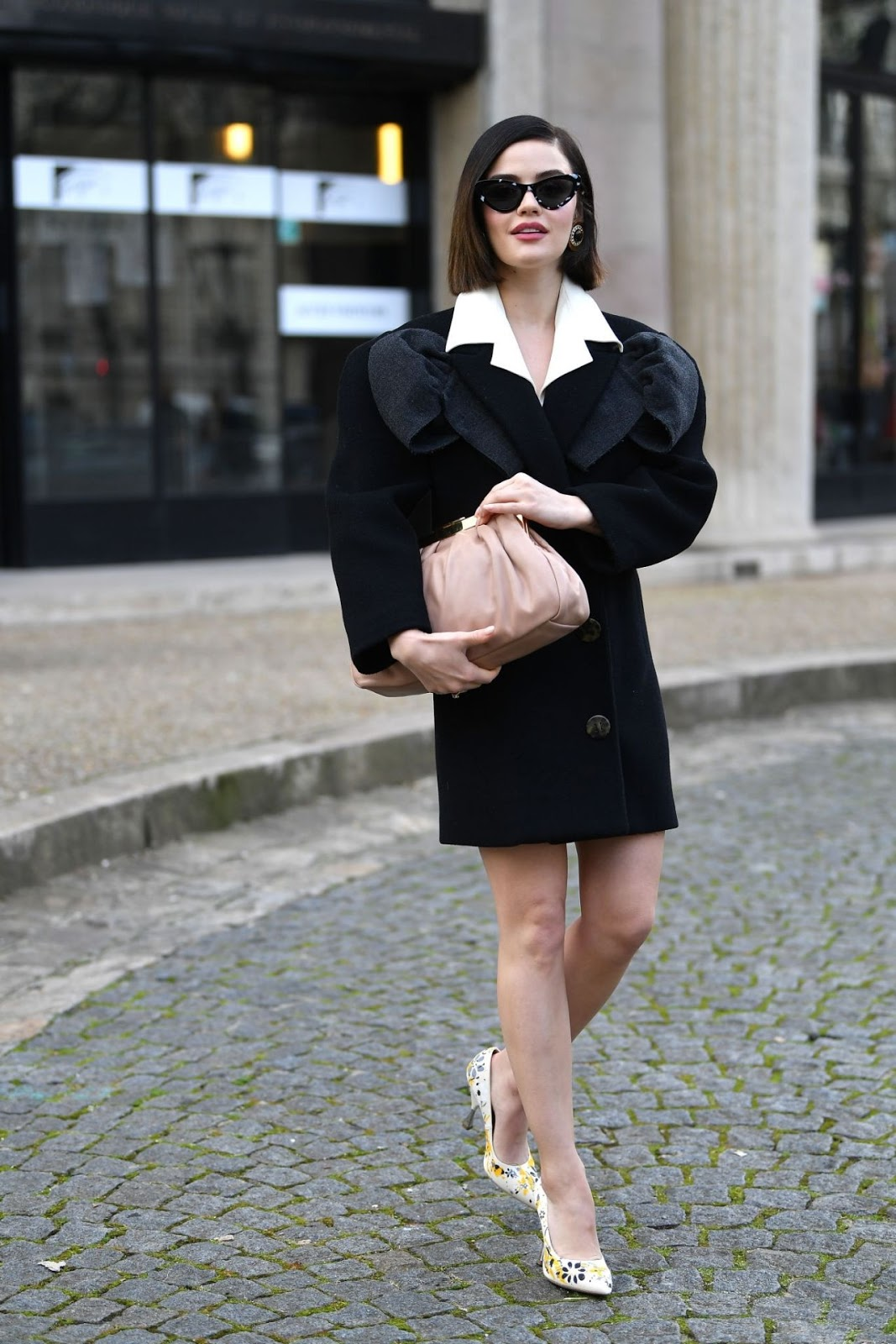 Lucy Hale flaunts legs in blazer dress at the Miu Miu Fall/Winter 2020 Fashion Show in Paris