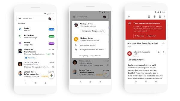 Google تطلق مظهرًا جديدًا لـ Gmail على الجوال