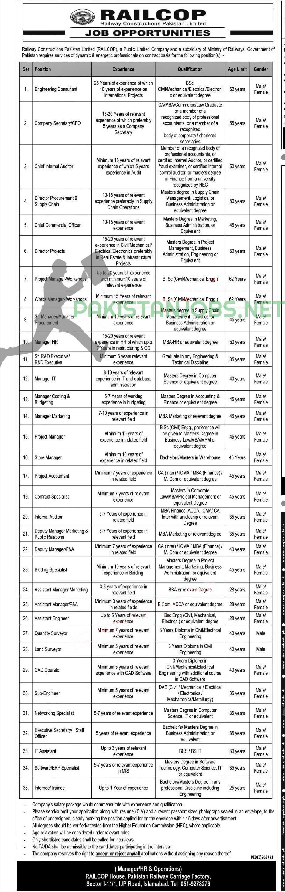 RailCop Jobs 2021 Railway Construction Pakistan Limited
