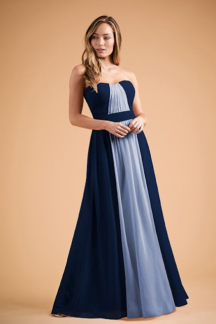 Dresses your bridesmaids will love and can wear again after the wedding - wedding dress ideas - blue two-tone strapless sweetheart floor length dress - wedding ideas blog - K'Mich Weddings Philadelphia - jasminbridal.com